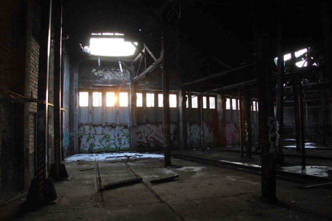 Sun-Through-Hole-In-Roof-of-Engine-Shed-at-Bahnbetriebswerk-Pankow-Heinersdorf