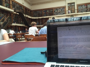 Elise: The State Library of NSW is most conducive. Except they won't let me sleep here.